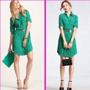 CAbi emerald green polka dot shirt dress small 429